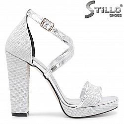 Сребърни абитуриентски сандали - 36095