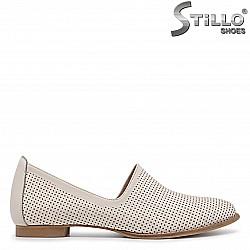 Бежови летни обувки от естествена кожа – 36178
