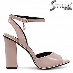 Розови дамски сандали с висок ток и каишка на глезена – 36182