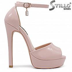 Елегантни розови сандали на висок ток- 36265
