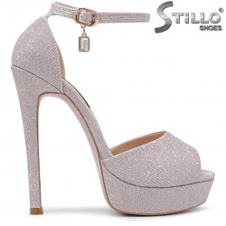 Бални розови сандали на висок ток - 36278