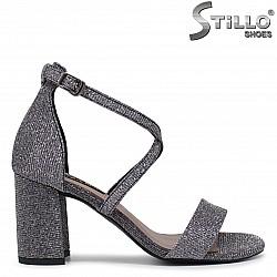 Бални сандали в сив брокат - 36280