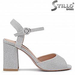 Сребърни сандали на висок ток - 36281
