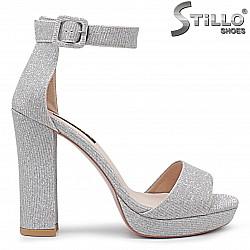 Сребърни сандали с платформа на висок ток - 36287