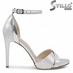 Сребристи дамски сандали с висок ток – 36364