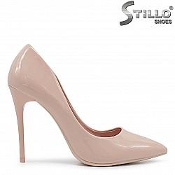 Дамски обувки с висок ток в цвят пудра – 36417