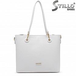 Бяла голяма дамска чанта - 36461