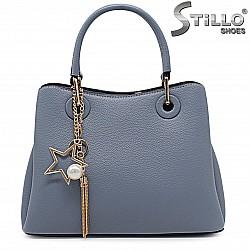 Синя елегантни дамска чанта с декорация - 36469