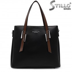 Черна чанта с кафяви дръжки- 36473