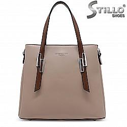 Бежова дамска чанта - 36476