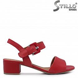 Червени сандали MARCO TOZZI от естествена кожа на ток – 36492