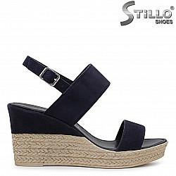 Сини сандали на платформа MARCO TOZZI от естествен велур – 36503