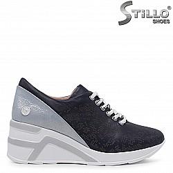 Сини спортни обувки от естествена кожа – 36513