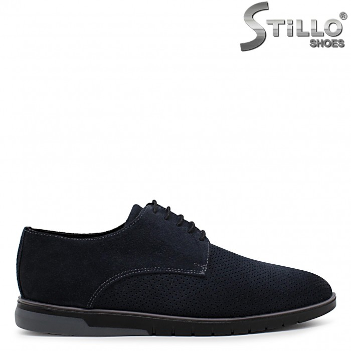 Сини мъжки обувки от естествен велур с перфорация – 36540