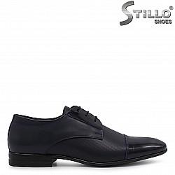 Сини мъжки обувки от естествена кожа и лак – 36548
