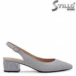 Сиви обувки от естествена кожа с перфорация – 36551