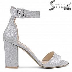 Сребърни дамски сандали на висок ток – 36557