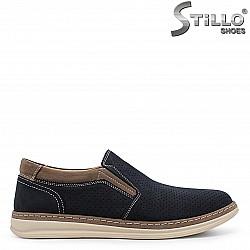 Сини спортно-елегантни мъжки обувки от набук  – 36565