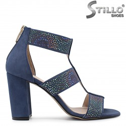 Сини сандали от естествен велур на висок ток – 36609