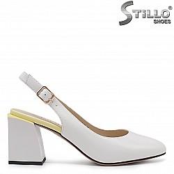 Дамски сандали в комбинация от бяло и жълто – 36705