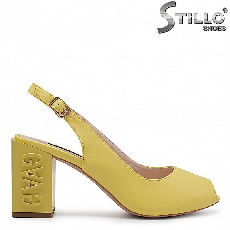 Жълти сандали на моден ток - 36771
