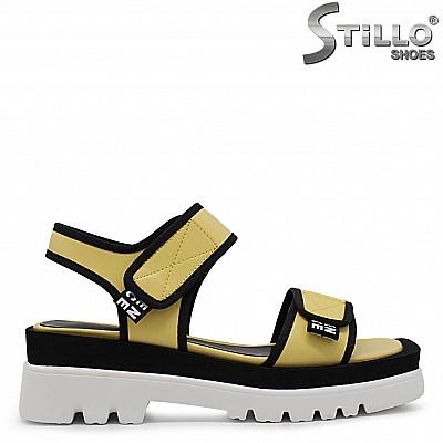 Спортни дамски сандали в жълто на платформа – 36776