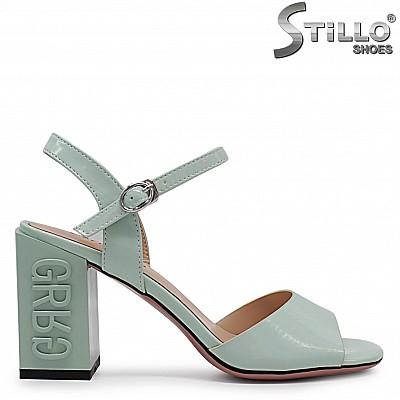 Дамски сандали в цвят мента на дебел ток  - 36781