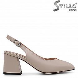 Отворени обувки на среден ток в бежово и розово – 36813
