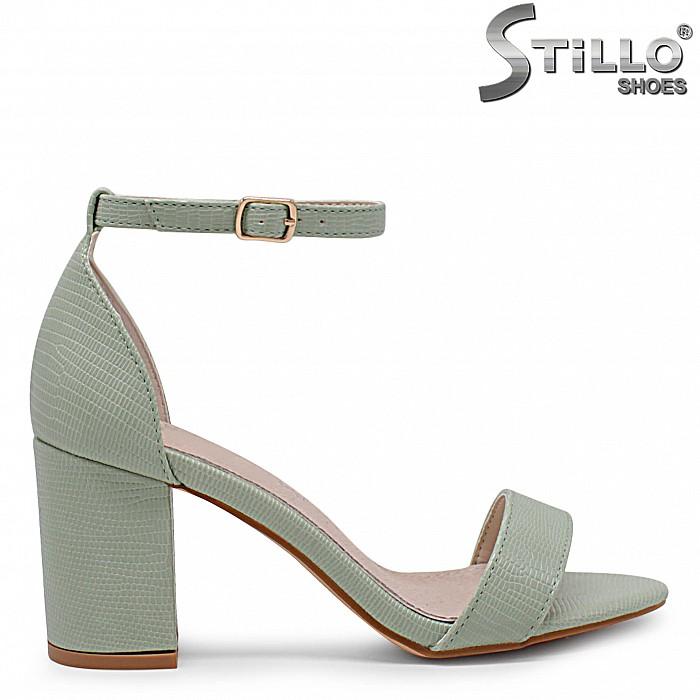 Дамски зелени сандали на висок ток – 36874