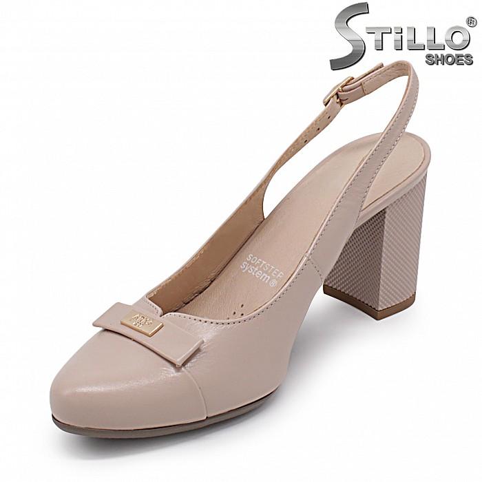 Дамски обувки от естествена кожа с изрязана пета – 36902