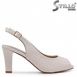 Дамски сандали с кроко щампа на ток – 36934