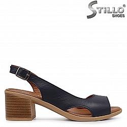 Дамски сини сандали от естествена кожа - 37001