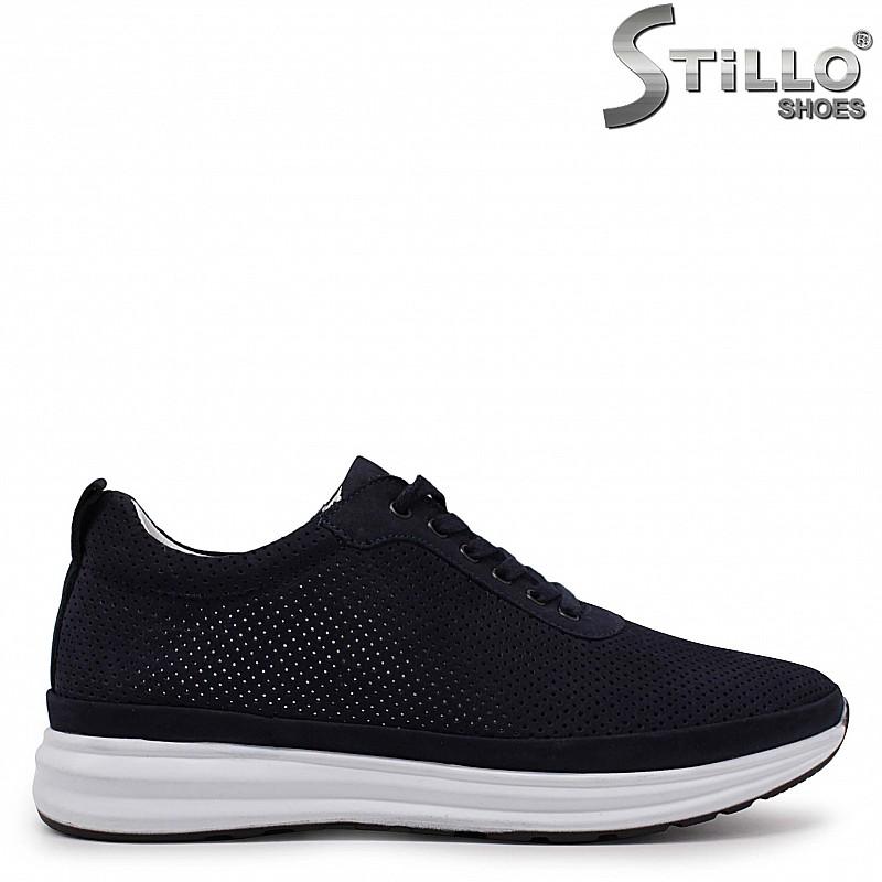 Спортни мъжки обувки от син набук с перфорация – 37004