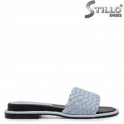 Сини дамски чехли с плетена каишка  - 37030