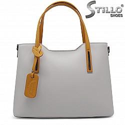Дамска чанта естествена кожа в сиво и горчица – 37058