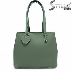 Голяма зелена чанта от естествена кожа – 37061