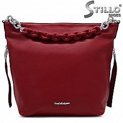 Голяма дамска чанта в червено със синджирче – 36854