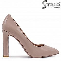 33, 34 Номера - Лачени обувки на висок ток в пудра – 37092