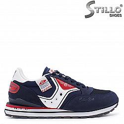 Мъжки маратонки в синьо,бяло и червено - 37269