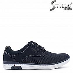 Спортни мъжки обувки от естествена кожа в синьо – 37361