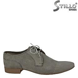 Арт. 24599 - Кафяви мъжки обувки от естествен набук
