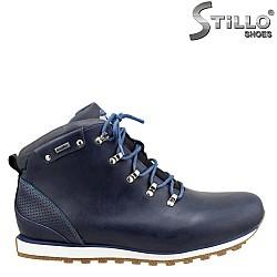 25651 - Спортни мъжки боти от естествена синя кожа
