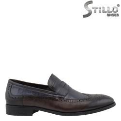 26139 - Мъжки обувки от синя и кафява кожа