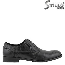 26145 - Официални мъжки обувки от черна кожа