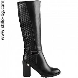 Дамски ботуши от черна кожа - 27751