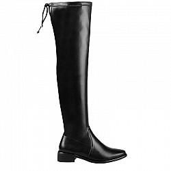 Стилни дамски ботуши над коляното на нисък ток - 27732