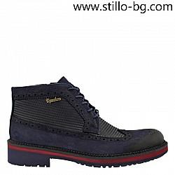 Мъжки  модни боти от син набук - 27918