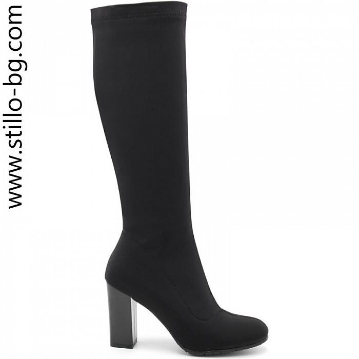 85d75c1e733 Stillo магазини за обувки, Дамски ботуши по крака от стреч сатен - 28070