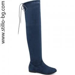 Дамски сини ботуши над коляното - 27554