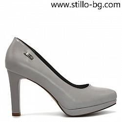Сиви дамски обувки на висок ток и платформа - 28281